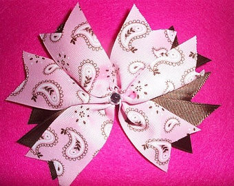 Pink and Brown Bandana Print Hair Bow with bling