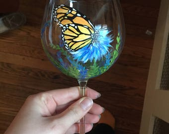 1 Hand painted glass; wine, beer, drinking