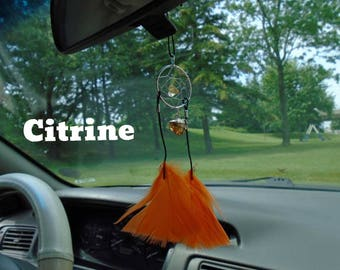 Citrine dream catcher for your rear view mirror or interior window, Happiness, Optimism,  Prevent anger, Prosperity, Infused w Reiki