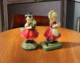 Chalkware Figurines, Girl with Dog, Girl Holding Potted Flowers
