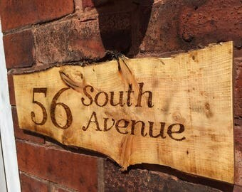Personalised Pyrographed Wooden Door Sign/Numbers