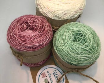 Hand Dyed 4 ply Superwash Merino -Rose Mint Ridge and Furrow Shawl Set