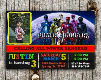 Power Ranger Invitation,Power Ranger Party,Power Ranger Birthday,Power Ranger Invite,Power Ranger Birthday Party,Power Ranger Card