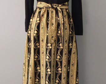 1970s Black and Gold Midi/ Maxi Vintage Dress,Susan Peters, Seventies Russian Peasant Revival, Intense Shimmering Fabric, Australian Vintage