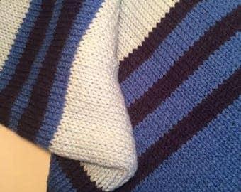 Blue stripe knit baby afghan