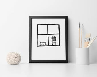 Cat Looking Through Window Illustration - Original - 8 x 10 Download