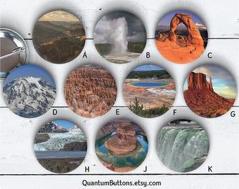 """Landmark Button, 1.5"""" Pin-back Button, Park Button, Badge, Landmark Pin, Party Favor, Landmark Flair, Vacation Button 094"""