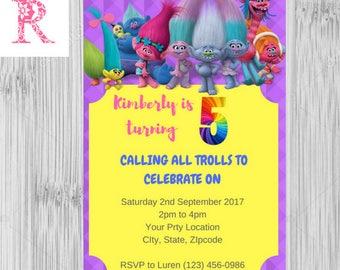 Printable, Digital, Trolls Invitation, Trolls Invitation Instant Download, Trolls Party, Trolls Girl Invitation, Trolls Diy Invitation, DIY