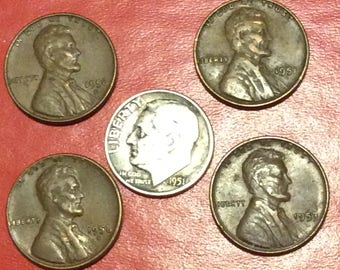 Vintage Silver 1951 Dime with 4 1950s Wheat Pennies