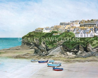 Low Tide at Port Isaac Harbour, Cornwall (A4 Print)