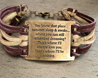 Peter Pan and Wendy quote suede lace cuff bracelet