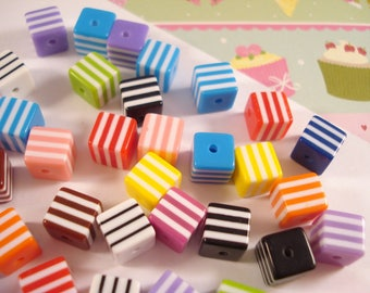 Striped Cube Beads 8mm x 200 - Colour Mix