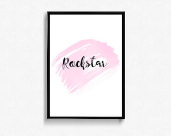 Rockstar quote Printable wall art poster home decor pink brush background, digital typography print with fun quote