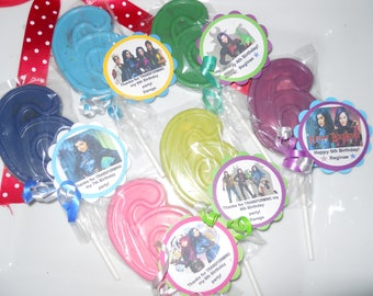 12 Disney Descendants 2 Birthday Chocolate lollipop party favors 6th Birthday Gourmet Chocolate Party Favors with custom tags