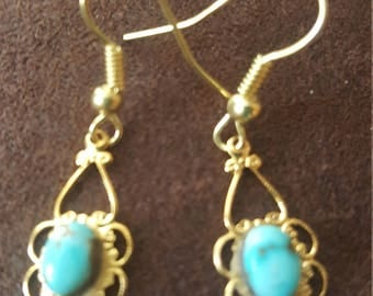 Gold & Turquois Earrings