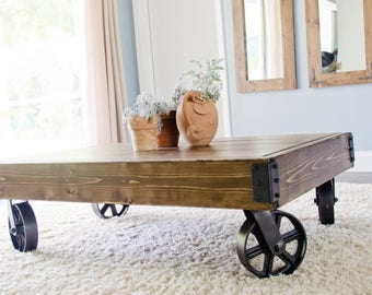 Factory Cart, Industrial Coffee Table, Caster Wheels, Steel Caster Wheel  Coffee Table,