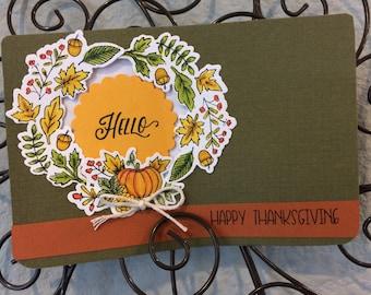 Happy Thanksgiving Card, Hello Fall Card, Autumn is Calling Card, hand colored fall wreath card, fall season