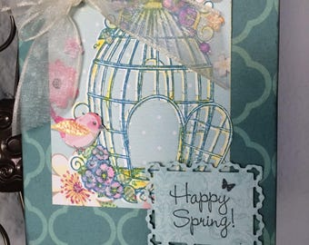 Handmade Easter Card, Happy Spring card, Easter blessings, bird cage and bird card, spring Easter card, spring floral,