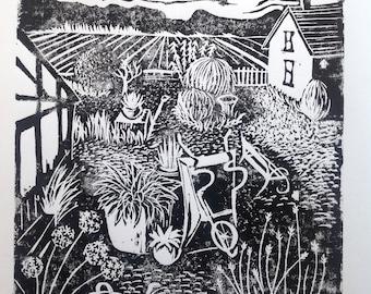 Garden lino print A5 handmade