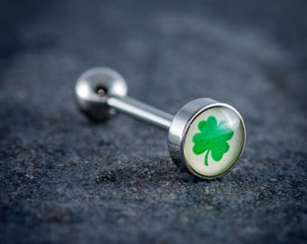 "1.6mm (14g) 316L Surgical Steel Logo Tongue Bar ""SHAMROCK"""