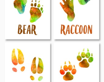 RUSTIC DECOR HOUSEWARMING Gift, Bear, Fox, Deer, Raccoon, Animal Tracks, Paw Prints, Woodland Animal Wall Art, Printables, Instant Download