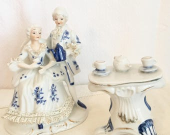Vintage Colonial Tea party Figurines