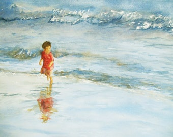 Fun at the beach - child playing - original watercolor - seashore painting - ocean painting - into the beach - seascape - landscape painting