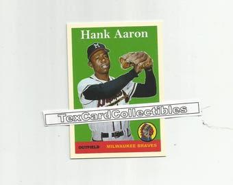 Hank Aaron Milwaukee Braves New, Custom Made 1958 Style Baseball Card. Mint Condition.