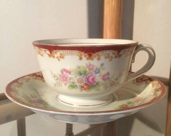 1940s occupied japan tea cup and saucer handpainted