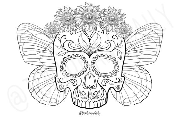 Skull flower crown with butterfly wings coloring page for Flower crown coloring page
