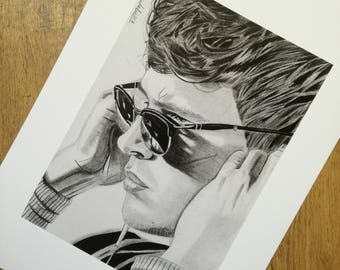 Baby Driver pencil drawing - high quality print