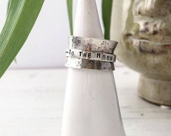 To the moon and never back affirmation anxiety eco sterling silver spinner fidget ring