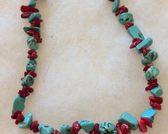 Red coral with blue turquoise