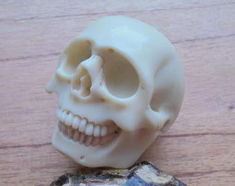 Skull Carving, Table Decoration, White Billiard Ball Pool, Bali Carving Bead Jewelry,  White 01