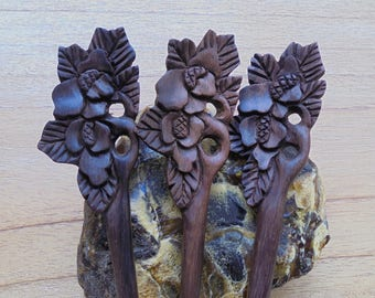Flower Hair Pin, 1 Prong Wood Hair Sticks, Organic Wood Hair Fork Accessories HS53-1