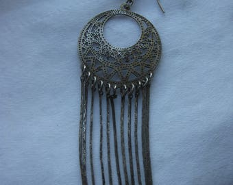 single earring long chain fringe