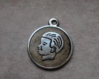 Boys Head Sterling Charm Disc 60s Silver