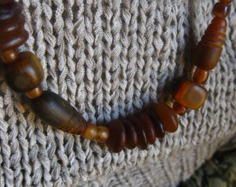 Carved Wood Bead Amber Necklace Vintage Earthy Jewellery