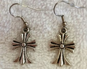 Pair of Silvertone Cross Earrings Wires--New--St. Steel Wires--Always in Fashion
