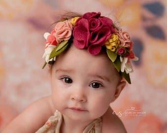 Full Floral felt crown baby newborn toddler