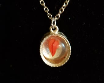 BoHo Silver Pendant Necklace Silver Chain Cat's Eye Stone