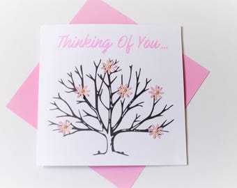 thinking of you card|flowers|handmade|card for her|blank greetings card