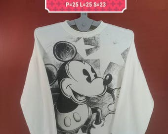 Vintage Mickey Mouse Sweatshirt Copyright Walt Disney Sweater Big Logo Fullprint White Colour Walt Disney Sweatshirt Nike Sweatshirt Animati