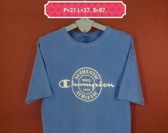 Vintage Champion Shirt Spellout Big Logo Front Shirt Blue Colour Size M Made In USA Polo Ralph Lauren Shirts Nike Shirt Band Shirts Skate