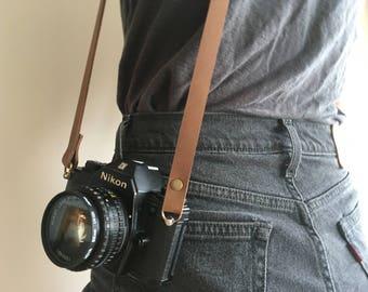 Brown Leather Skinny Camera Strap