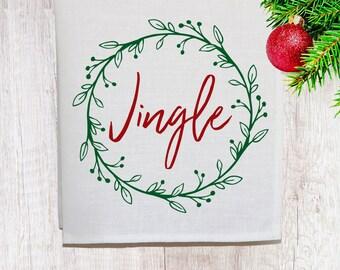 Jingle Christmas Linen Tea Towel [Off White]