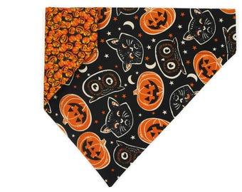 Halloween Dog Bandana –Jack-o-lanterns, Cats & Owls–Reversible–Slides on Collar