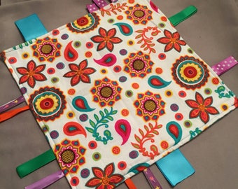 Baby Taggie Blanket, Ribbon Blanket, Lovey Blanket - Bright Floral Print and Teal, Baby Shower Gift,