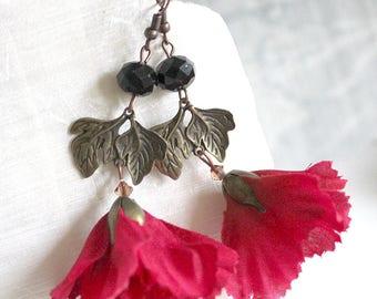 Red Garnet Flower Earrings