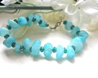Blue pebble and Crystal bracelet.
